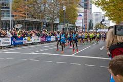 Frankfurt Marathon Start den Pacern in front das Feld anführend