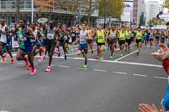 Frankfurter Marathon Profi Läufer kurz nach dem Start in der Masse