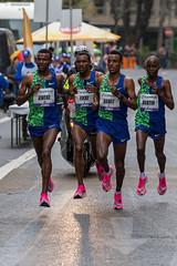Bekele Tefera Fikre, Arega Wolde Dawit, Aweke Ayalew das Siegertrio vom Frankfurter Marathon
