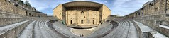 A panoramic shot of the 2,000 year-old Roman amphitheater in Orange, France