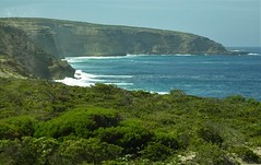 Whalers Way near Port Lincoln. An impressive coastal drive along cliff tops and beaches with crevasses, blow holes, rock pool, caverns etc.