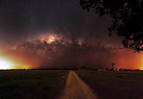Milky Way setting over a farm near Harvey, Western Australia