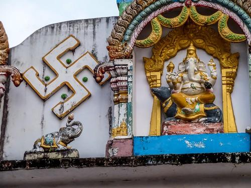 Swaztika and Ganesh, Hindu Temple, Mawlamyine Burma