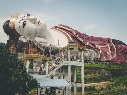 Massive Reclining Buddha on Hillside in Myanmar