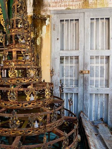 Rusty Pagoda Spire and Old Door Near Monk's Quarters, Burma