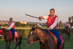 Horse rider holding a saber in hand. Additional riders in blurry background