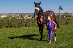 Little girl leading a race horse by its reins