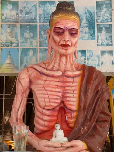 Skeletal Meditating Figure in Rural Pagoda, Burma