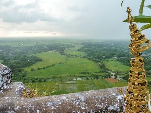 View of Green Fields from Hilltop Pagoda, Mawlamyine, Burma