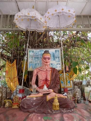 Skeletal Meditating Figure in Rural Pagoda, Burma (wide view)