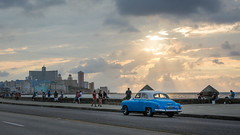 Blue Car on the Malecon