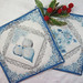 "Quilted Trivets (2)  Set #2   $30  Silver Winter, 9.5"" square.  Click here for more info"