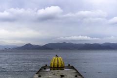 Yayoi Kusama's Yellow Pumpkin at Naoshima Island, Japan