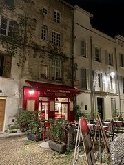 Kate and I look over quaint old restaurants like this one on date night in Avignon last night - Photo of Morières-lès-Avignon
