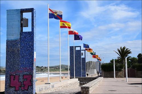 Banderas en Suances (Cantabria, España, 27-9-2019)