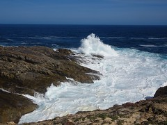 Port Lincoln. Eyre Peninsula. Waves breaking on rocky cliffs on Whalers Way.