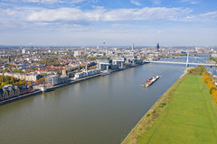 Aerial view of the Rhine and the Rheinauhafen district in Cologne, Germany