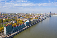 Aerial view of Rheinauhafen in Cologne, Germany