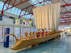 Stem of a reconstructed Navis lusoria Roman ship in the Museum of Ancient Seafaring, Mainz, Germany