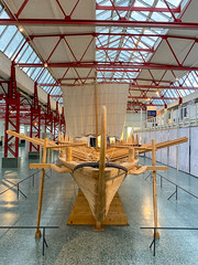 Stern of a reconstructed Navis lusoria ship in the Museum of Ancient Seafaring, Mainz, Germany