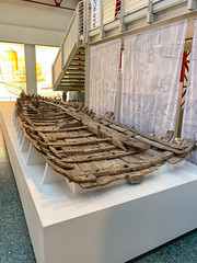 Shipwreck of Navis lusoria Roman military ship in the Museum of Ancient Seafaring, Mainz, Germany