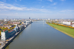 Distant view of the bridge Severinsbrücke in Cologne, Germany