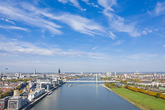 Aerial view of the Rhine, Rheinauhafen and Poller Wiesen in Cologne, Germany