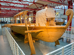 Side view of Roman military ship reconstruction in the Museum of Ancient Seafaring, Mainz, Germany
