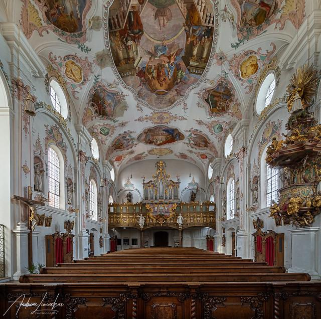 Blick zur Orgel in der Wallfahrtskirche Maria Hilf (Klosterlechfeld)