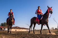Horse riders in traditional garb during Ljubicevske konjicke igre