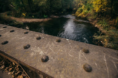 Close up of a steel bridge over the river