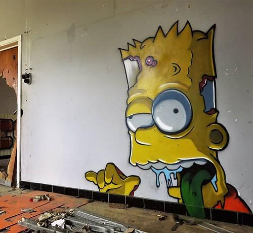 Enjoy the night, all of you... dead or alive. #streetart by #PeteOne. . #simpsonshorror #urbexhalloween #graffiti #urbanart #graffitiart #streetartbelgium #graffitibelgium #muralart #streetartlovers #graffitiart_daily #streetarteverywhere #ilovestreetart
