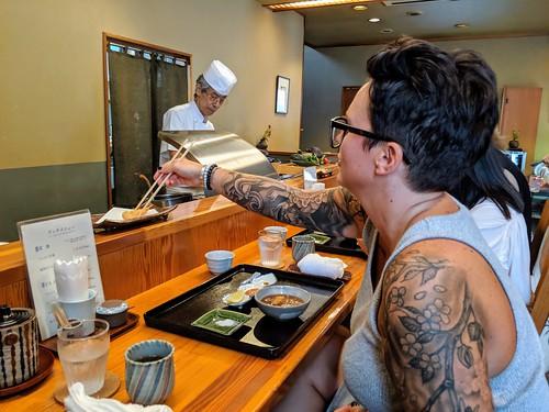 Grabbin some shrimp tempura