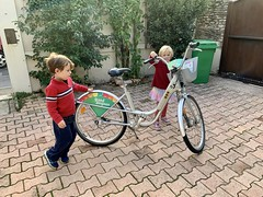 The twins play with a bike I rented in Avignon today - Photo of Morières-lès-Avignon