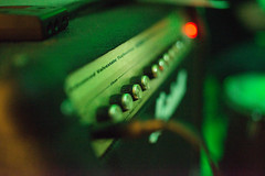 Closeup of Marshall guitar amp on stage