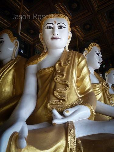 Multiple Buddhas at a pagoda in Mawlamyne, Burma