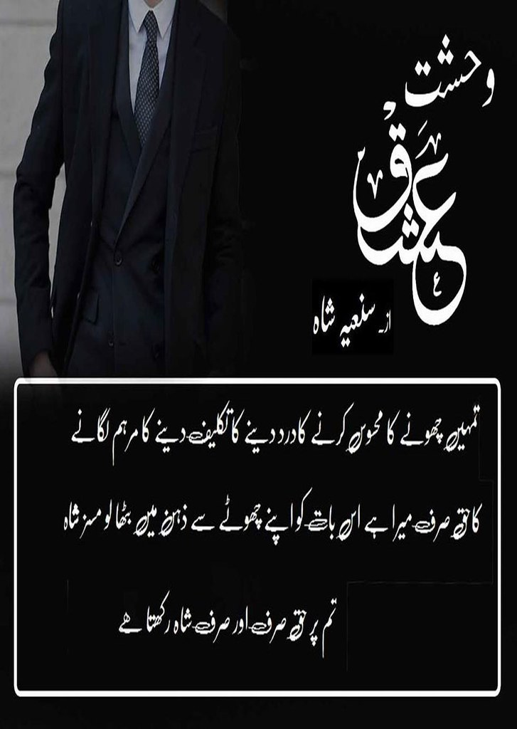 Wehshaat e Ishq is a very well written complex script novel by Saniya Shah which depicts normal emotions and behaviour of human like love hate greed power and fear , Saniya Shah is a very famous and popular specialy among female readers