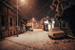 Abandoned city street in Petrovac na Mlavi during the snow storm