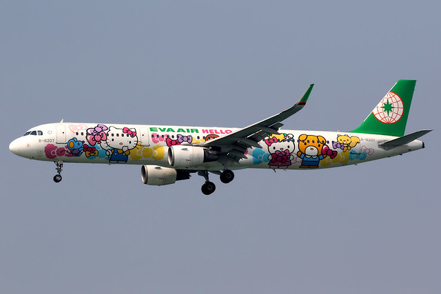 EVA Air | Airbus A321-200 | B-16207 | Hello Kitty livery | Hong Kong International
