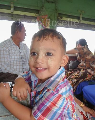 Happy Boy on Train in Burma