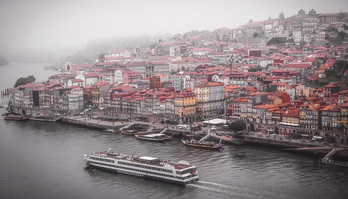 Ribeira, Porto on a foggy day