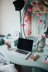 Notebook in a glamour vintage business workspace.