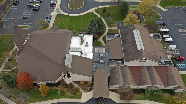 Finished Drone Shot of Church Roofing Project