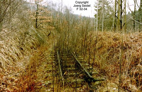 DE-09429 Wolkenstein Deutsche Reichsbahn Gleisreste der Preßnitztalbahn bei der Zschopaubrücke im März 1992
