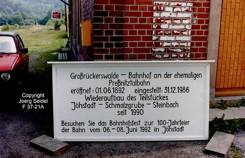 DE-09518 Großrückerswalde Bahnhof der Preßnitztalbahn im Juli 1992
