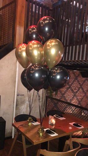 Tafeldecoratie 6ballonen Cafe in the City Rotterdam