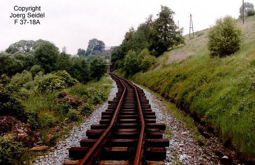 DE-09477 Jöhstadt  Preßnitztalbahn Gleisbau Richtung Schlössel im Juli 1992