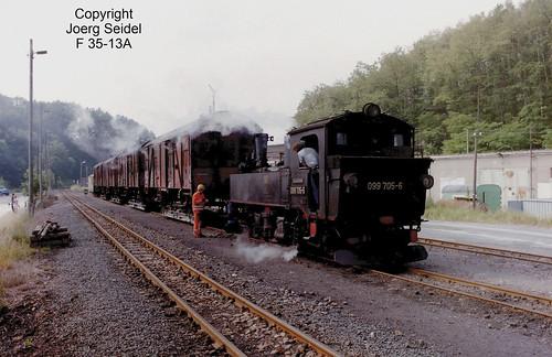 DE-04769 Kemmlitz Deutsche Reichsbahn/Döllnitzbahn Dampflok 099 705-6/ 99 1564 (Hartmann 3217/1909) im Juli 1992