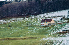 Old farmer house in the Swiss mountains of the Alps