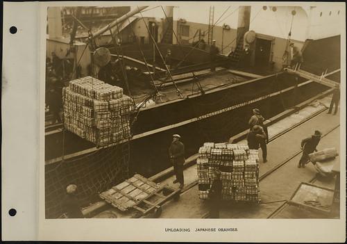 Unloading Japanese oranges from a ship / Déchargement de la cargaison d'oranges japonaises d'un bateau